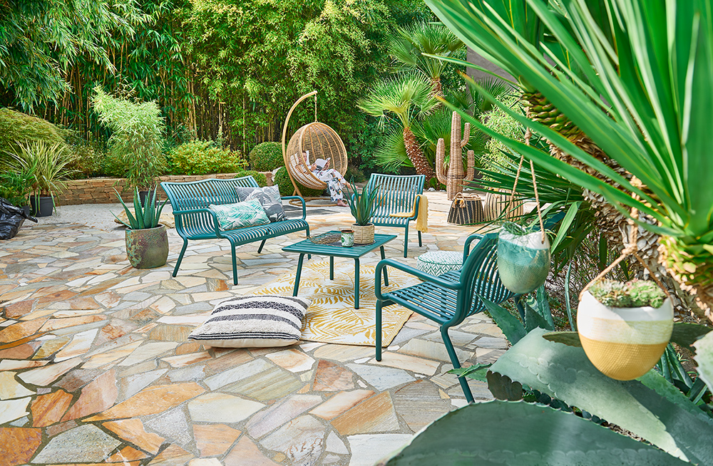 Mobilier, salon de jardin, plante, décoration, extérieur